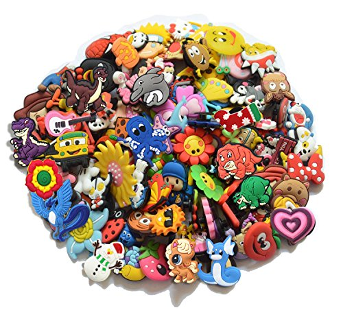 joytime shoecharm Lot of 50 Mixed PVC Different Shoe Charms for Croc & Jibbitz Bands Bracelet Wristband ()