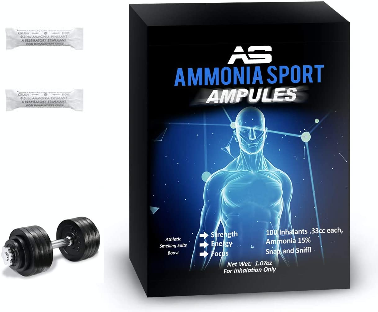 AmmoniaSport Athletic Smelling Salts – Ampules 100 Ammonia Inhalant – Smelling Salts – Powerlifting Smelling Salts – Ammonia Alert – Salt Caps – Pre Workout Tablets – Jetlag Pills – Ammonia Alert