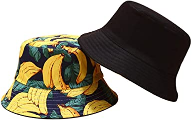 Joylife Banana Print Bucket Hat Fruit Pattern Fisherman Hats Summer Reversible Packable Cap
