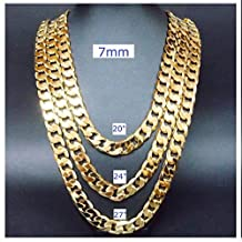 Gold chain necklace 7mm 24K Diamond cut Smooth Cuban Link with a. USA made