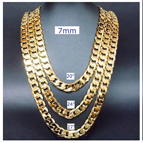 (Gold chain necklace 7MM 24Kt Diamond cut Smooth Cuban Link with a. USA made (28))