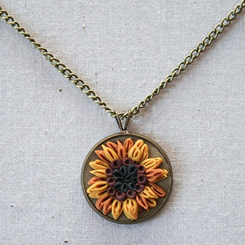 18' Olive (Earth Clay Jewelry - 18'' Pendant Necklace, Miniature Nature Scene Sculpture - Olive Sunflower)