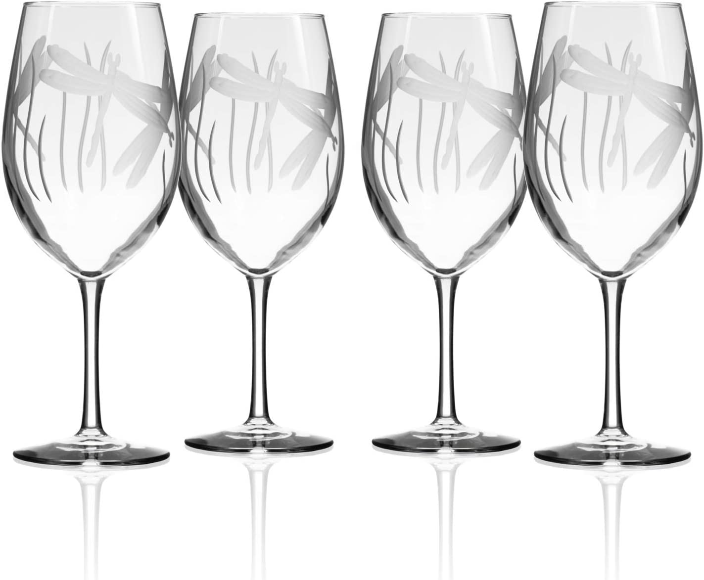 Dragonfly All Purpose Wine Glass 18 ounce - Stemmed Wine Glasses Set of 4 - Lead Free Crystal - Etched Large Wine Glasses - Made in the USA - A Rolf Glass Classic