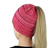 Multicolor Trendy Warm Chunky Soft Stretch Cable Knit Beanie Womens Ponytail Messy Bun Beanie Solid Ribbed Hat Cap erfect Work Out Hat or Running Hat (Rosa Red + White)