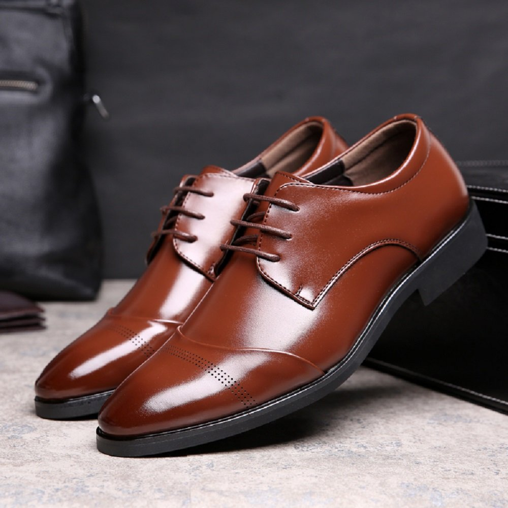 cd3f2f80caf00 Chaussure Homme Cuir, Lacets Derby Mariage Dressing Oxford Business Cuir  Vernis Brogue Vintage Noir Marron