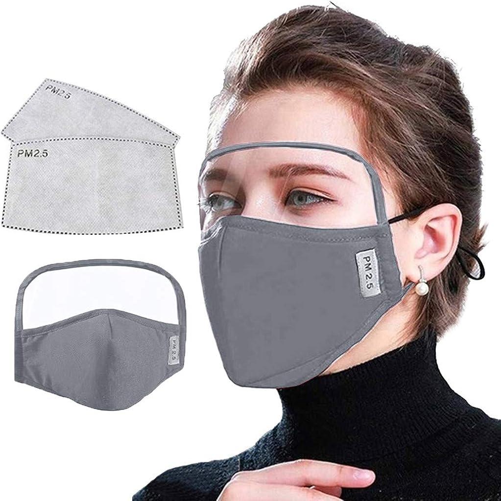 YiMiny 1PC Protector Facial Gafas Protectoras + 2Pcs Filtros de Repuesto de Carbón Activo Unisex Visera Facial con Ajustable Earloop Protección Respiratoria Reutilizables Antipolvo Antivaho