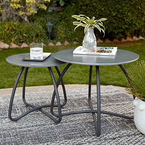 Direct Home Modern Industrial Gray Black Set of 2 Concrete Top Patio Side Tables Nesting End Tables Outdoor Pool Patio Deck Furniture (Outdoor Table Side Concrete)