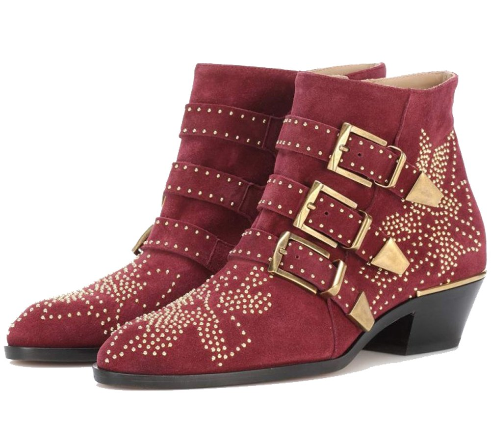 Comfity Women's Buckle Rivets Studded Shoes Metal Buckle Women's Low Heels Ankle Boots B07DRGB4FN 36 (M) EU|Red 57b41d