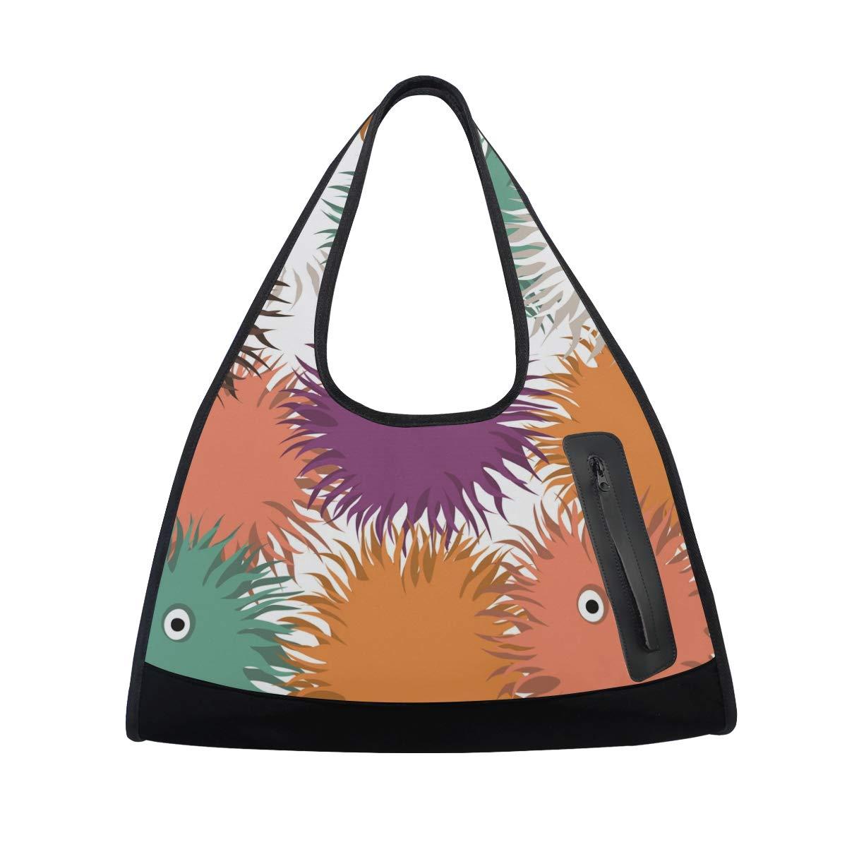 Unisex Travel Duffels Gym Bag Cartoon Fluffy Round Canvas Weekender Bag Shoulder Bag Totes bags