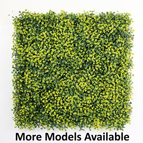 GENPAR Artificial Hedge BOXWOOD, covers 33 SQ feet, adds protection, privacy fences, box consist of 12 packs (20'' x 20'') UV PROTECTION, INSTALL DIY. 15 YEARS life span. (A001-YELLOW) by GENPAR