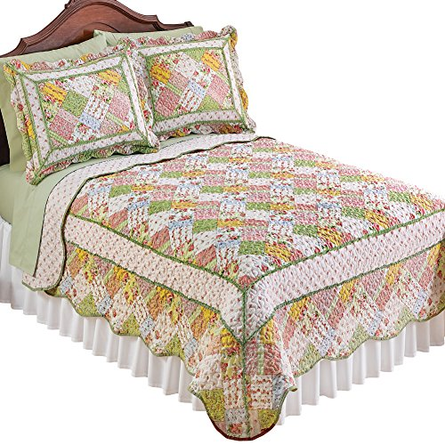Collections Etc Reversible Savannah Pastel Cottage Floral Patchwork Quilt Bedding, Green Multi, Full/Queen