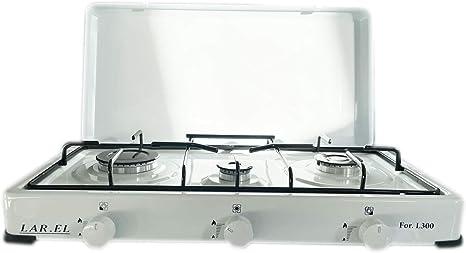 Hornillo de gas GLP para camping, color blanco, 3 fuegos, cocina de mesa