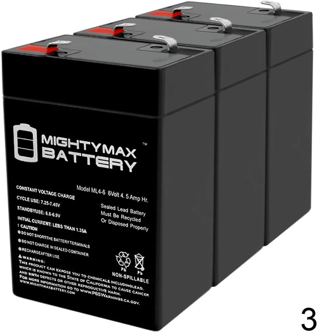 ml4 – 6 – 6 V 4.5 AH一般00648 Sealed non-spillable緊急ライトバッテリーwka6 – 5 F – 3パック – Mighty Maxバッテリーブランド製品