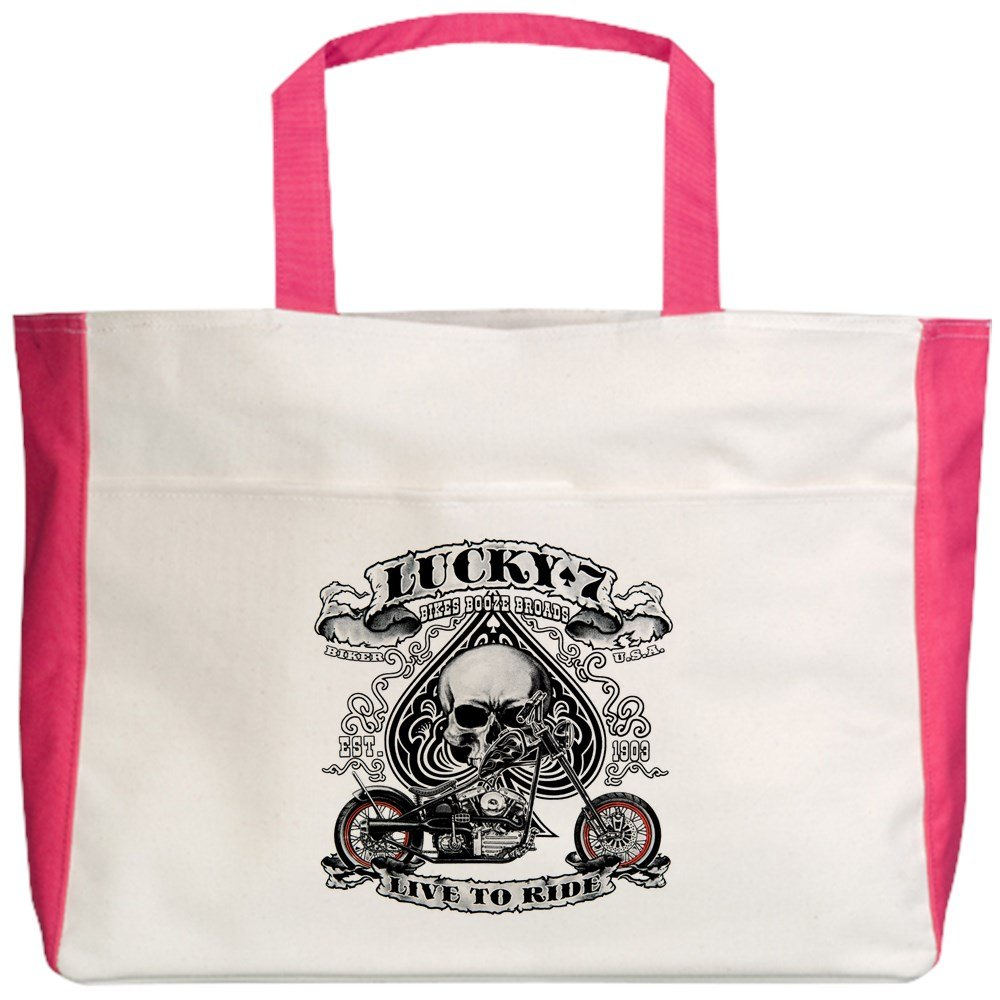 Royal Lion Beach Tote (2-Sided) Lucky 7 Bikes Live To Ride Skull - Fuchsia