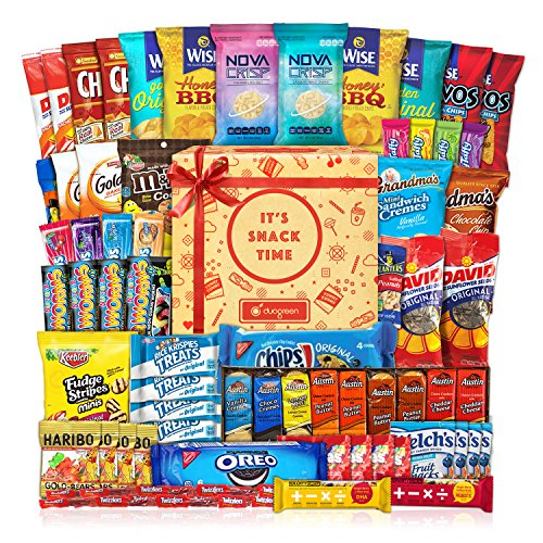 Care Package (60 Count) Cookie Chips & Candies Party Snack Gift Bundle -