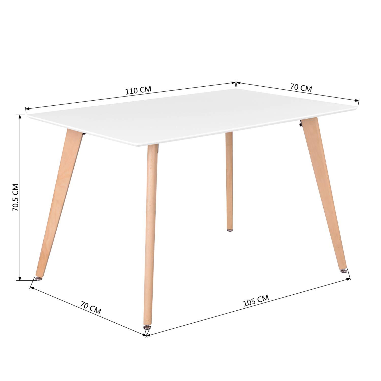 FurnitureR Dining Table Rectangular Top Dining Desk 44'' x 28'' Leisure Cofffee Table 2-4 People Wood Beech White Kitchen Desk by FurnitureR (Image #2)
