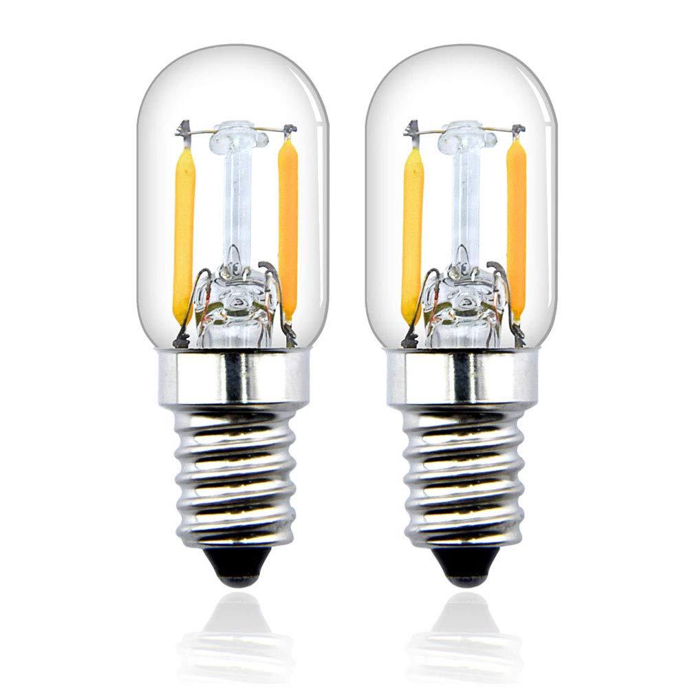 Bonlux T22 E14 2W LED Filamento Vintage Edison Bombilla para frigorífico, nevera, microondas, máquina de coser, lámpara de escritorio (2-unidades, ...