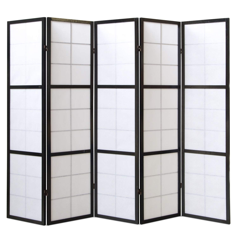 Homestyle4u 5 pan diviseur de pi/èce /écran pliant bois partition Shoji en riz noir blanc
