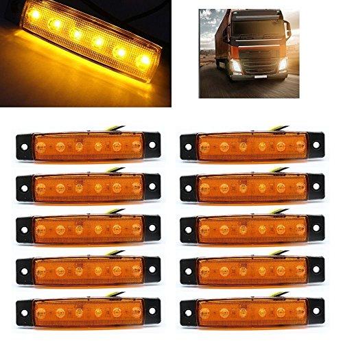 Ronben 10PCS 6LED Side Marker Indicators Lights for Car Truck Trailer Bus Lamp DC12V