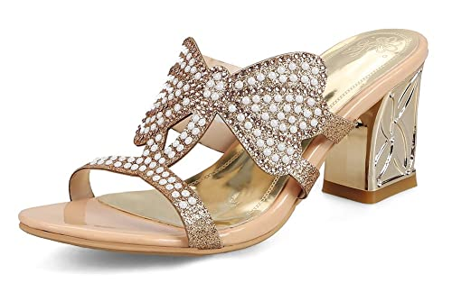 Lady Mode Strass Femme Aisun Mules Plage Papillon Noeud Talon Or qv4c0
