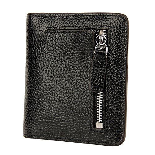 SCIEN Women's RFID Blocking Leather Wallet Bi-fold Zipper Pocket Card Case Purse