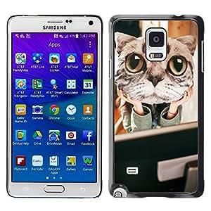 - Cat Cute Kitty - - Caja del tel???¡¯????fono delgado Guardia Armor FOR Samsung Galaxy Note 4 Devil Case