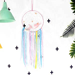 ZUEXT Mermaid Dream Catcher for Kids,Handmade Pink Mermaid DIY Dream Catchers for Girls Nursery Bedroom Wall Hanging Decoration Baby Shower Under The Sea Party Supplies, Nursery Wall Art Ornament Gift