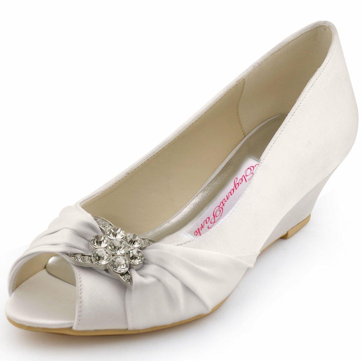 ElegantPark WP1403 Women Peep Toe Pumps Rhinestones Mid Heel Wedges Satin Wedding Bridal Shoes Ivory US 9