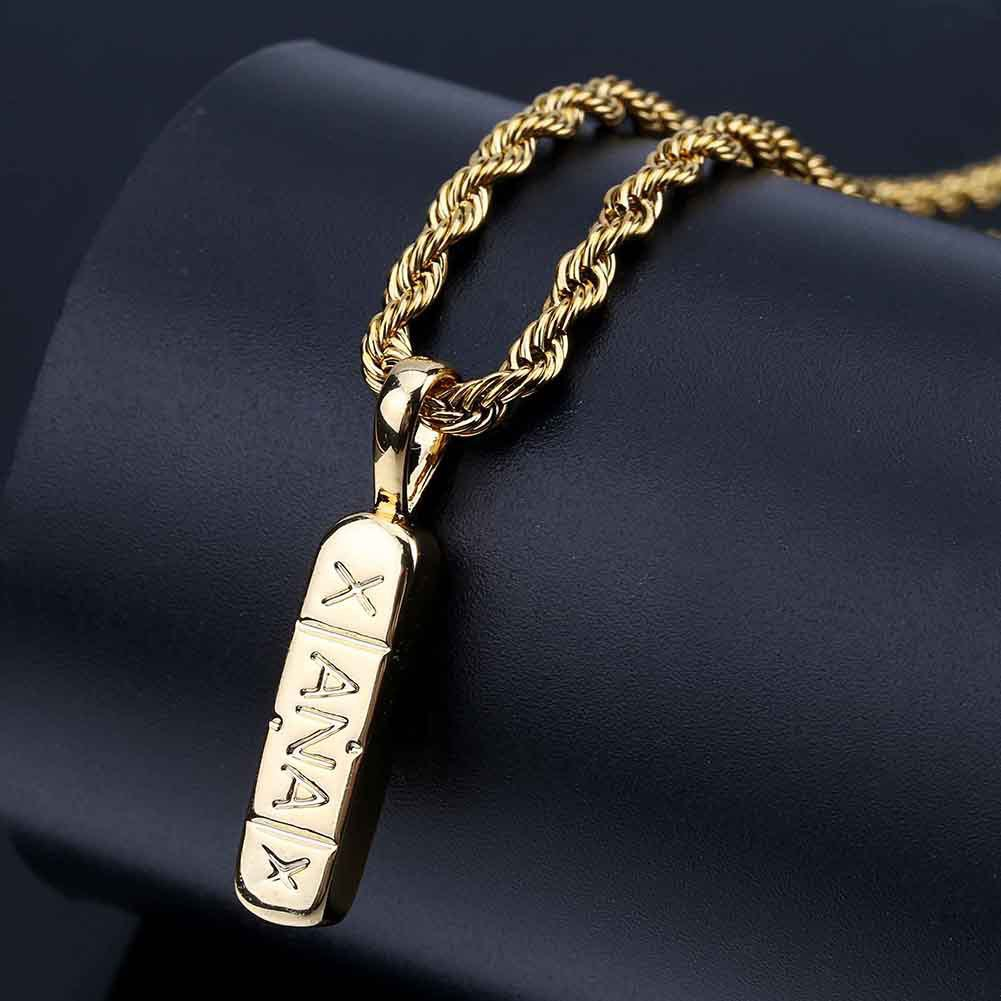 JAJAFOOK Hip Hop 14k Gold//Silver Plated Bling Fashion Xanax Pill ID Bar Pendant Necklace 24 Rope Chain