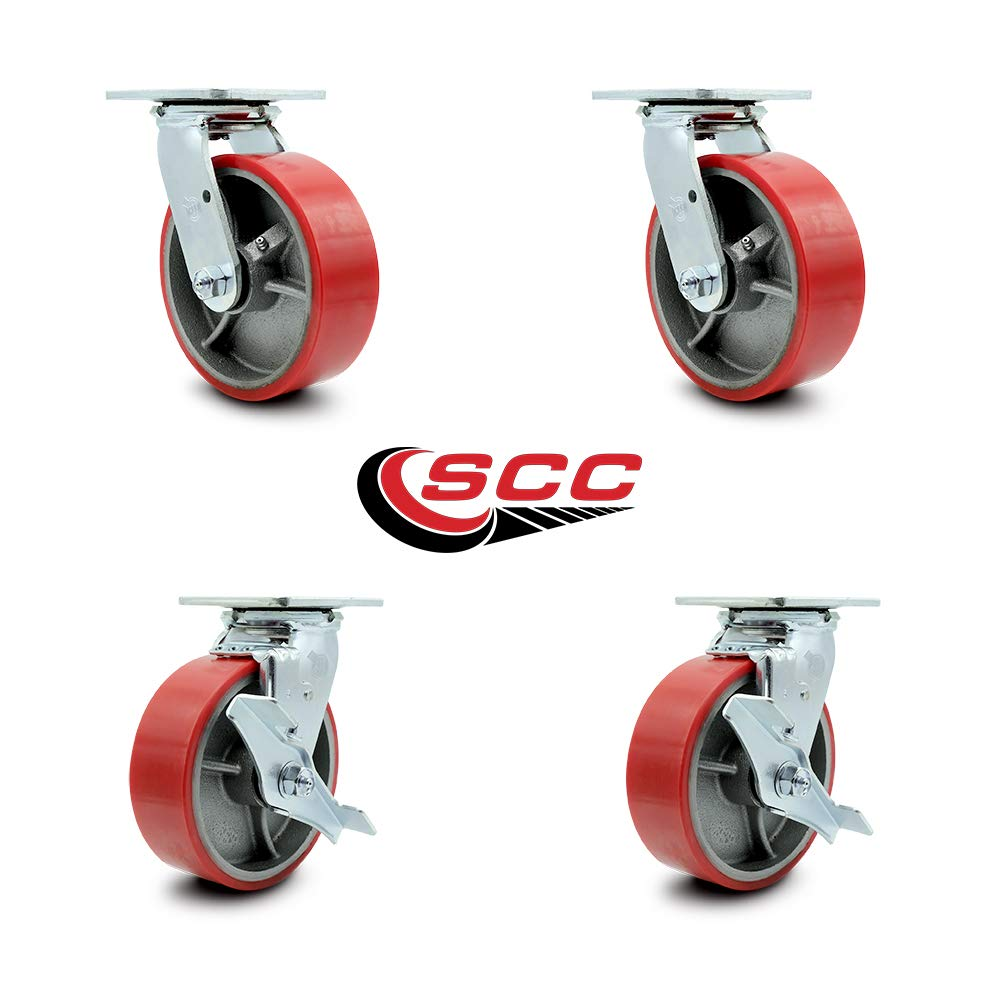 Service Caster - 6'' x 2'' Polyurethane Wheel Caster Set - Red on Silver - 2 Swivel with Brakes and 2 Swivel - Non Marking - 4,800 Lbs Total Capacity - Set of 4