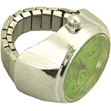 Women`s Analog Stretch Ring Watch green and silver tone - 4