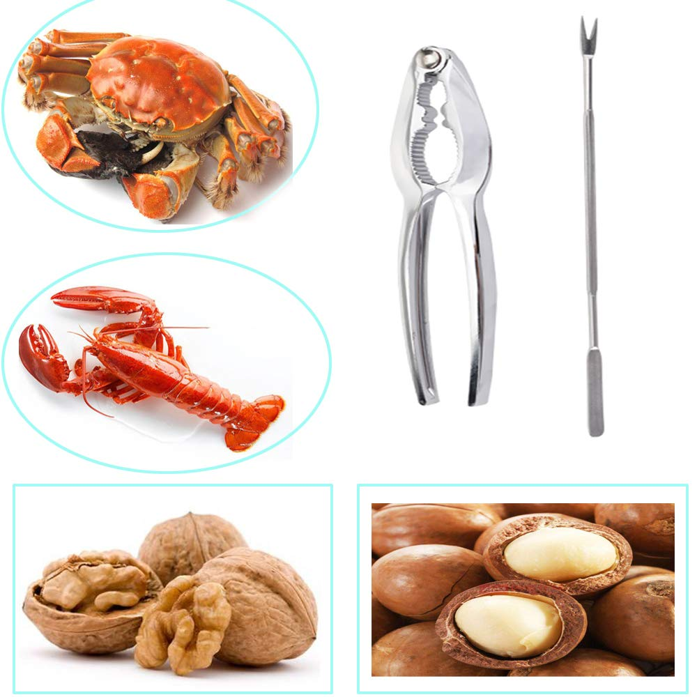 6 Lobster Crackers and 7 Forks Happybase Seafood Tools Set Nut Cracker/Lobster Crab Crackers Opener/and Stainless Steel Forks Picks