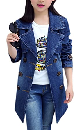 d61eb3c8d733 Amazon.com  Girl s Cute Maxi Notched Double Breasted Denim Trench Coat Dark  Blue Jeans Jacket for Big Kids  Clothing