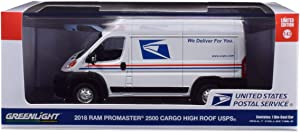 Greenlight 86154 1: 43 2018 Ram Promaster 2500 Cargo High Roof - United States Postal Service (USPS) - New Tooling, Multi