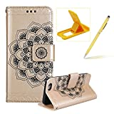 Rope Leather Case for iPhone 6S,Strap Wallet Case for iPhone 6,Herzzer Bookstyle Classic Elegant Mandala Flower Pattern Stand Magnetic Smart Leather Case with Soft Inner for iPhone 6/6S 4.7 inch + 1 x Free Yellow Cellphone Kickstand + 1 x Free Yellow Stylus Pen - Gold