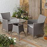 Rattan Style Bistro Set Garden Patio Table with 2 Chairs - Grey