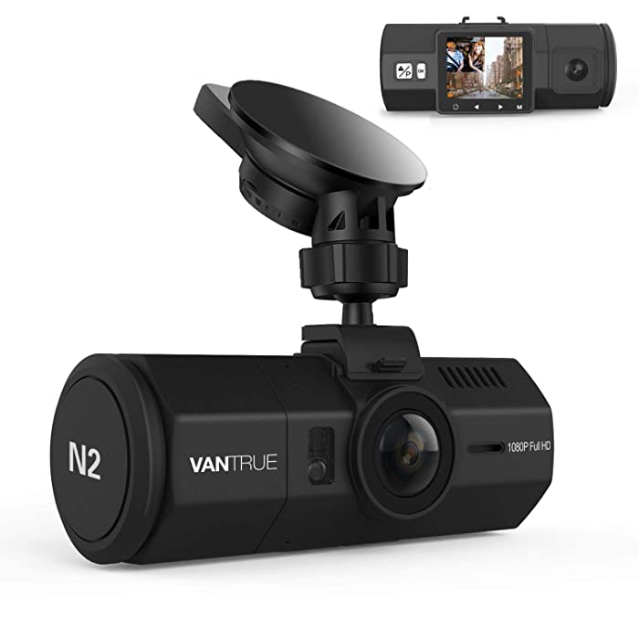 "VANTRUE N2 Uber Dual Dash Cam-1080P Inside and Outside Dash Camera for Cars 1.5"" Near 360° Wide Angle Lyft Dashboard Cam w/Parking Mode, Motion Detection, Front Camera Night Vision Effects"
