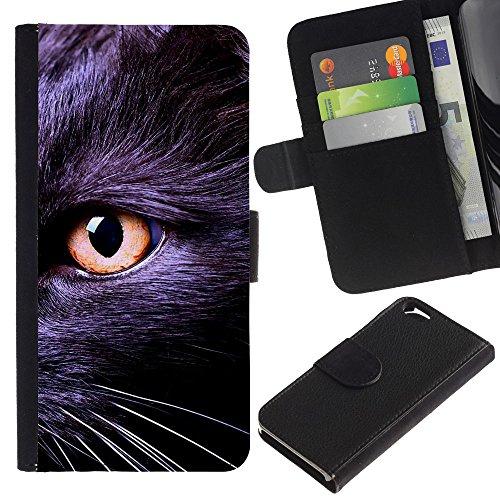 LASTONE PHONE CASE / Luxe Cuir Portefeuille Housse Fente pour Carte Coque Flip Étui de Protection pour Apple Iphone 6 4.7 / Black Bombay Chartreux Cat Eye Kitten