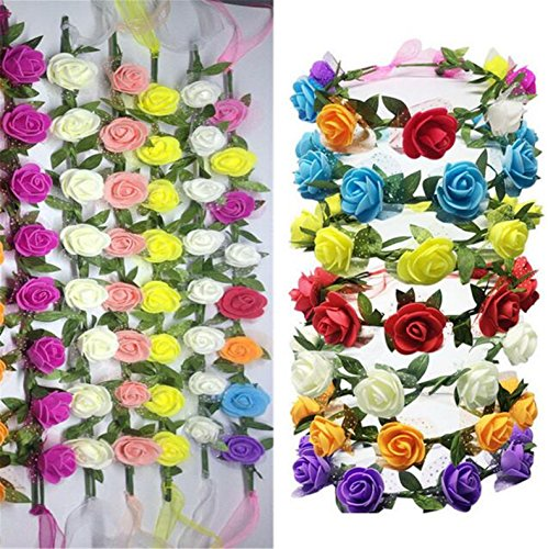 ATOZWIG Handmade Floral Crown Rose Flower Headband Hair Garland Wedding Headpiece