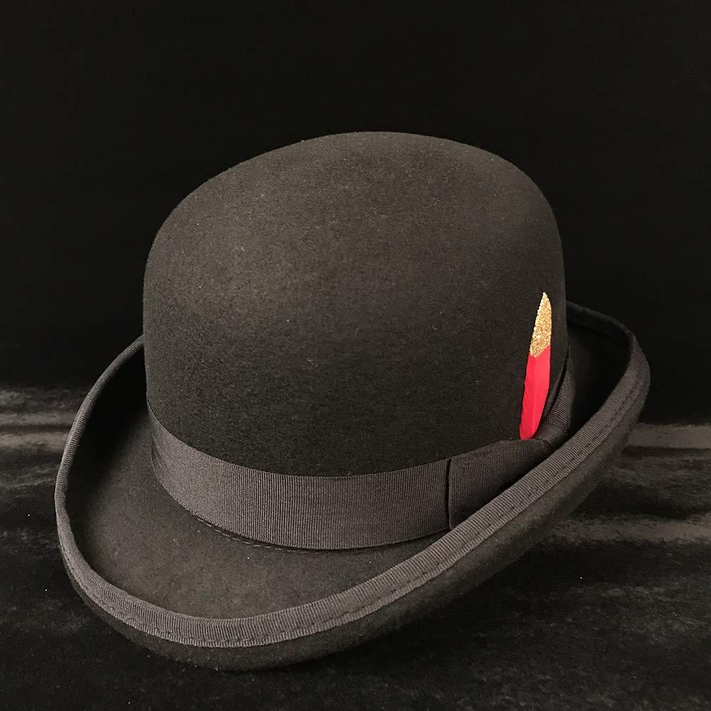 HYF Mens Wool Jazz Hat Dome Floppy Brim Fedora Hat Black Grey Vintage Dress Casual Male Winter Warm Bowler Hat Cap