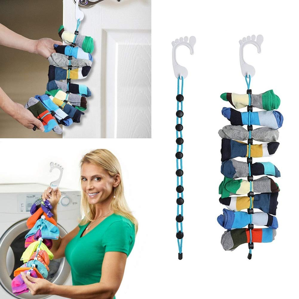 SHTAIN Sock Organizer, Easy Clips & Locks Paired Socks Dry & Hanging Storage,Storage Hangers or Dividers for Laundry,Dryer,Closet(2Pack) Closet(2Pack)