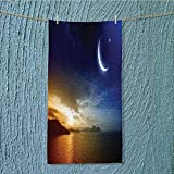 SeptSonne quick dry towel large Serene with Lunar and Star Holy Sky over Blue Orange Fluffy, and Absorbent, Premium Quality w13.8 x H27.5 INCH