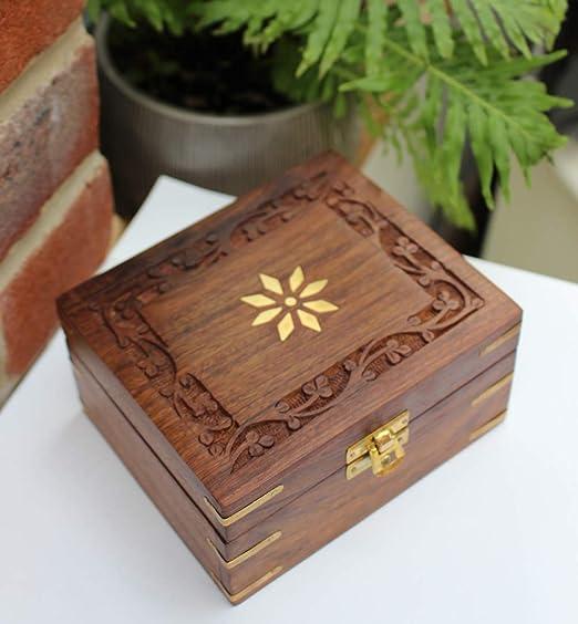 Fantástica caja de madera para joyas con diseño de flores: Amazon ...