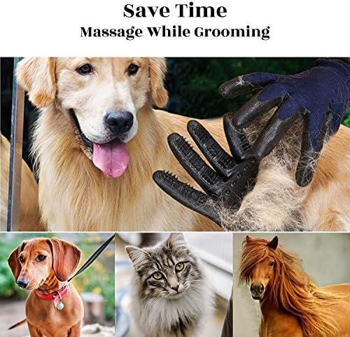 Wolfi Guantes removedores de Pelo para perro calidad PREMIUM color Azul (2 Guantes) Perfecto para Perros Gatos Caballos/Guantes de Aseo y Masaje para Mascota/Cepillo para retirar Pelo (Incluye 2 Piezas) (Par) 6
