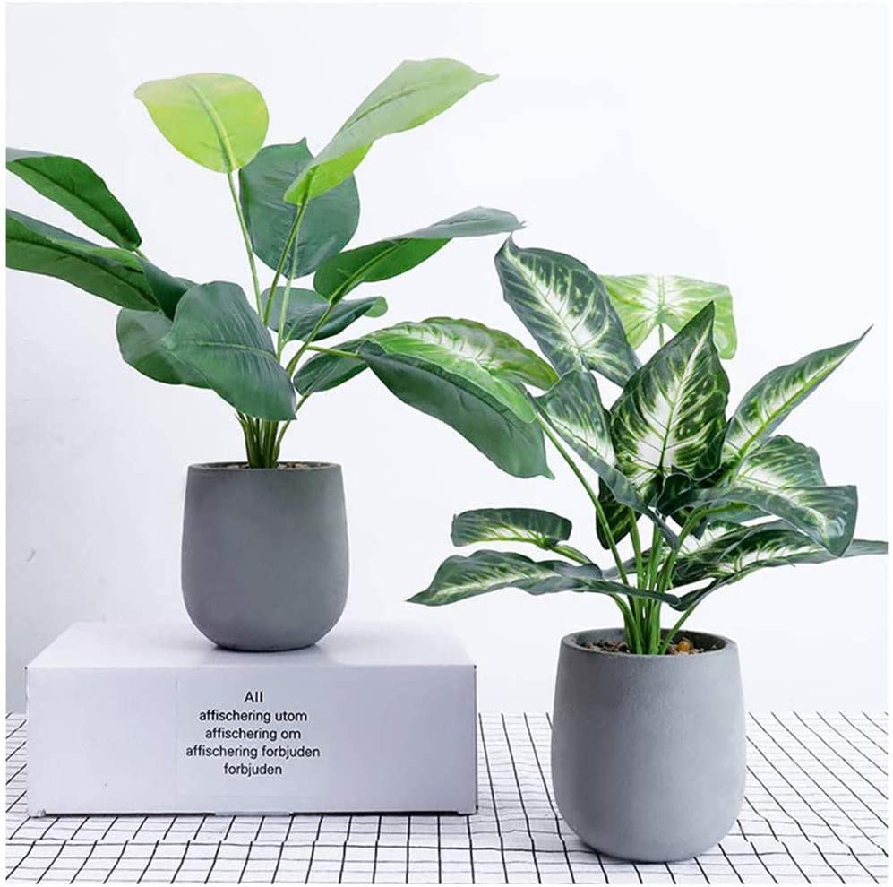 U'Artlines 2Pcs Artificial Topiary Greenery Plants with Paper Pulp Pot for Home Office Tabletop Decoration (Set of 2, Oak Leaf/Taro Leaf) -