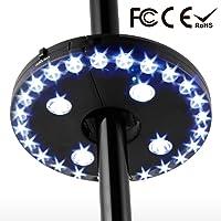 Lámpara de sombrilla para jardín, lámpara de paraguas con 28 bombillas LED, lámpara para fijar al pie o para colgar, 3 modos de ajuste de la luz, funciona con pilas.