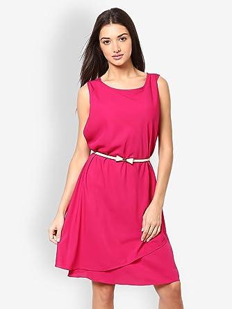 c1b17d08b4002 Pink Fuchsia Fit & Flare Dress: Amazon.co.uk: Clothing