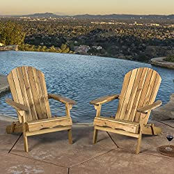 Great Deal Furniture Denise Austin Home Milan Brown Outdoor Folding Wood Adirondack Chair (Set of 2)