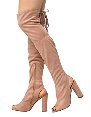 DELICIOUS Peep Toe Over The Knee Womens Boots, Mauve