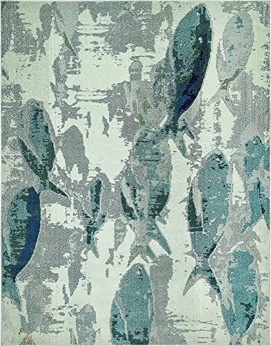 Unique Loom Positano Collection Coastal Modern Fish Light Blue Area Rug (8